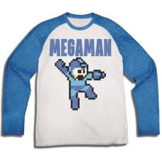 MEGAMAN 8-BIT WHITE BLUE REGLAN T-S XL
