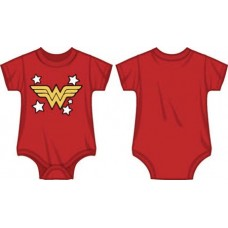 DC WONDER WOMAN LOGO INFANT RED SNAP BODYSUIT 6M (Net)