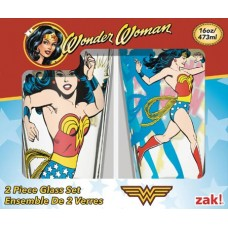 WONDER WOMAN CLASSIC 16 OZ GLASS TUMBLER 2PC WINDOW BOX