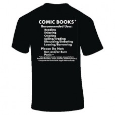 COMIC BOOKS RECOMMENDED USES BLACK T/S LG