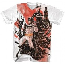 BATMAN BATMAN X CATWOMAN WATERCOLOR WHITE T/S MED