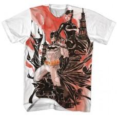 BATMAN BATMAN X CATWOMAN WATERCOLOR WHITE T/S LG