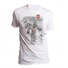 TRANSFORMERS GRIMLOCK DISTRESSED PX WHITE T/S LG