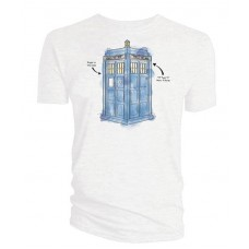 DR WHO TARDIS WATERCOLOR PX WHITE T/S MED