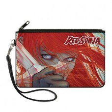 RED SONJA FACE SWORD CLOSE UP CANVAS ZIPPER WALLET