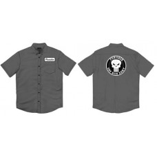 MARVEL PUNISHER FRANK WORKS CHARCOAL BUTTON UP T/S SM