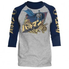 DC BATMAN JAPANESE KNIGHT HEATHER/NAVY RAGLAN MED