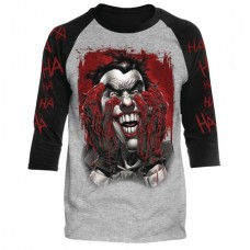 DC BATMAN BLOOD ON HANDS HEATHER/BLACK RAGLAN MED