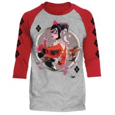 DC BATMAN HARLEY Q HEATHER/RED RAGLAN LG