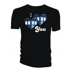 DOCTOR WHO I HEART YOU BLACK T/S LG