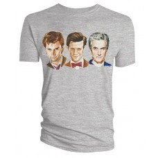 DOCTOR WHO WATERCOLOR THREE DOCTORS LINEUP GRAY T/S MED