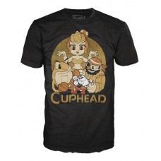 POP TEES CUPHEAD AND BOSSES BLACK T/S SM