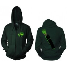 GREEN ARROW SYMBOL ZIP HOODIE MED