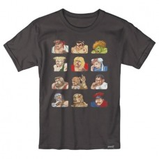 STREET FIGHTER CONTINUE FACES BLACK T/S LG