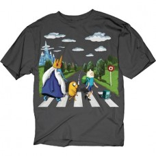 ADVENTURE TIME LAND OF OOO LANDSCAPE CHARCOAL T/S MED