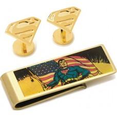 DC COMICS SUPERMAN CUFFLINK & MONEY GOLD CLIP GIFT SET