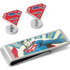 DC COMICS SUPERMAN CUFFLINK & MONEY SILVER CLIP GIFT SET