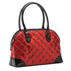 LUCY QUILTED RED HANDBAG W/ SPIDER HARDWARE