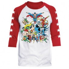 DC JUSTICE LEAGUE ASSEMBLE WHITE/RED RAGLAN MED