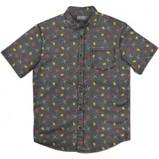 MARVEL DEADPOOL PARTY CHARCOAL BUTTON UP T/S MED