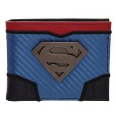 SUPERMAN DOMED METAL BADGE CARBON FIBER WALLET