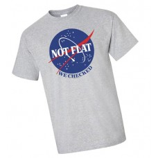 NOT FLAT WE CHECKED GREY T/S XL