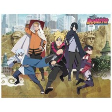 BORUTO MOVIE GROUP AND CITY SUBLIMATION THROW BLANKET